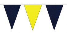 NAVY BLUE AND YELLOW TRIANGULAR BUNTING - 10m / 20m / 50m LENGTHS